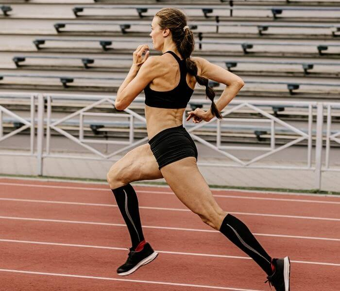 Female athlete on a running track